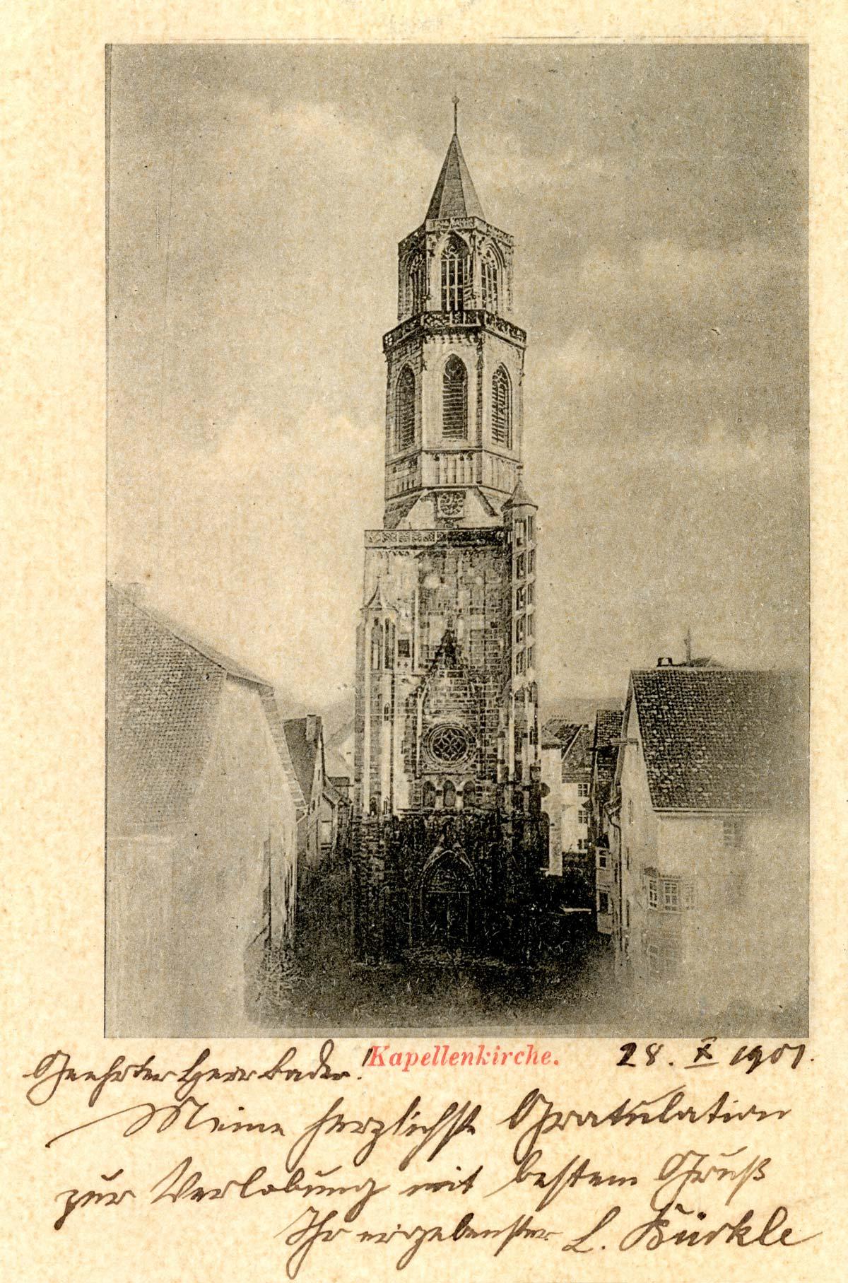 Historisches Foto der Kapellenkirche von 1907